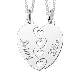 Sieraden 2 Silver friendship necklaces 'puzzle pieces' - Copy
