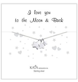 KAYA Cadeaudoosje zilveren ketting 'I love you to the Moon & Back'