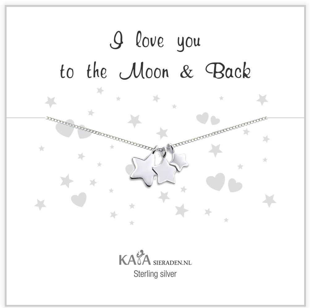 Cadeaudoosje zilveren ketting 'I love you to the Moon & Back'