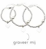 KAYA 3 Zilveren Armbanden 'Cute Balls Heart'