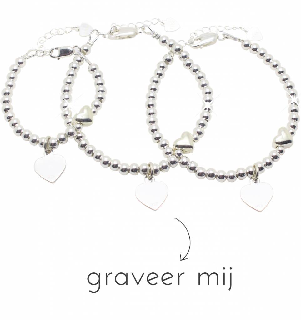 3 Zilveren Armbanden 'Cute Balls Heart'