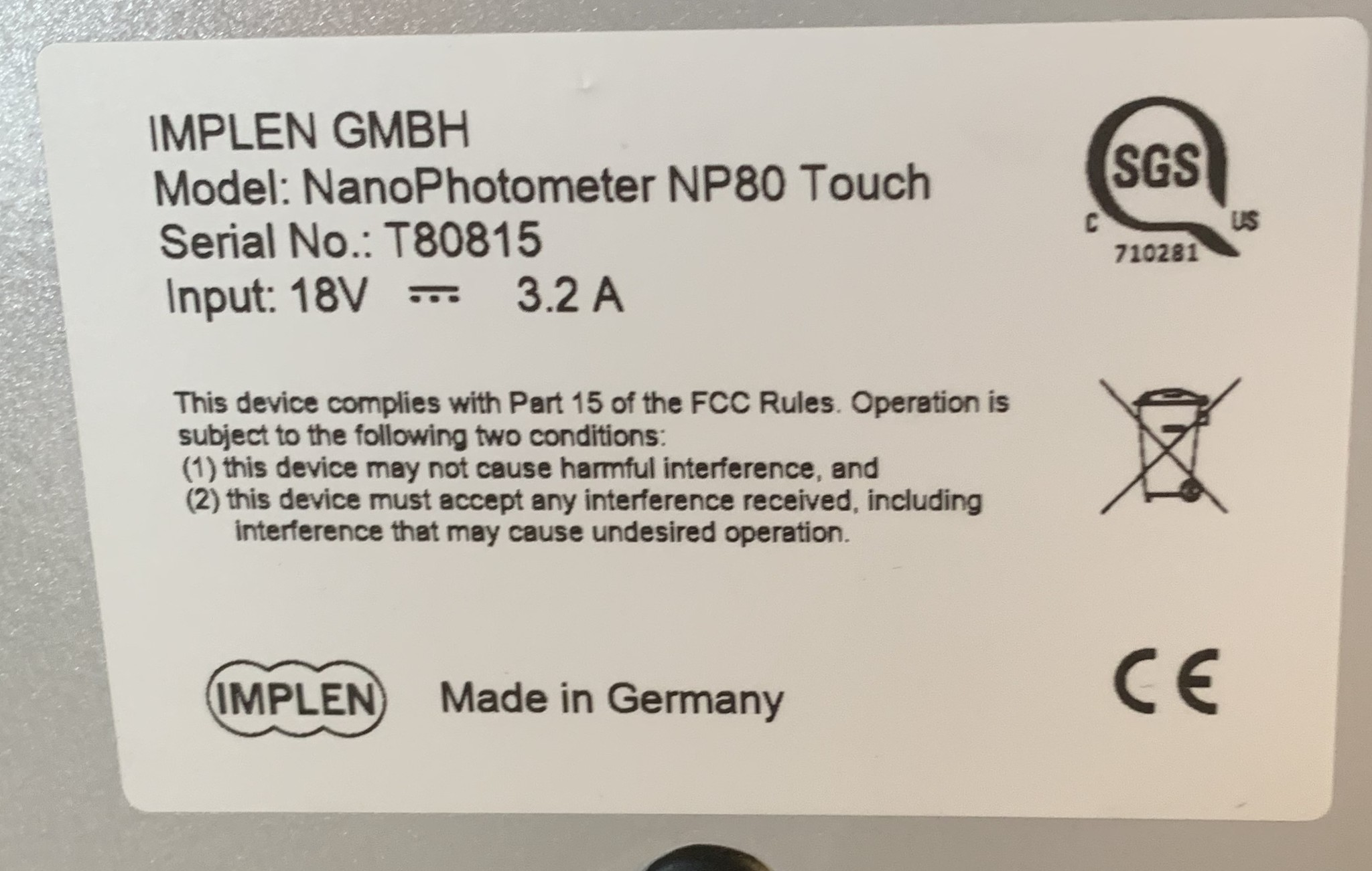 Implen Implen NanoPhotometer NP80 Touch