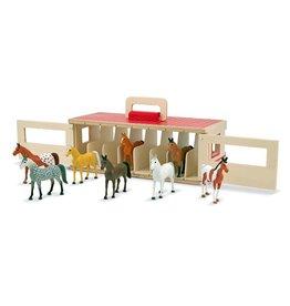 Melissa & Doug 13744, houten paardenstal in meeneem uitvoering