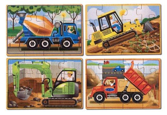 Melissa & Doug Melissa & Doug 13792, 4 constructievoertuigen puzzels van hout