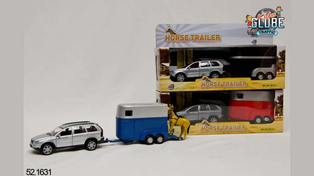 Kids Globe Kids Globe Volvo XC90 met paardentrailer die cast pb 27cm