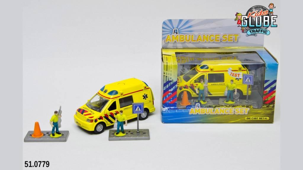 Kids Globe Kids Globe Ambulance 13cm Die Cast met L/G