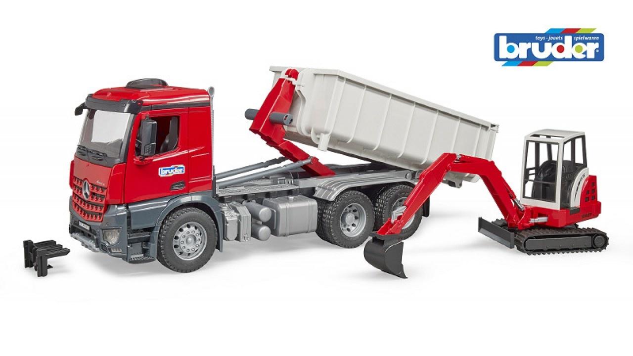 Bruder MB Arocs truck met container en Schaeff minigraver