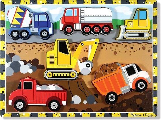 Melissa & Doug Melissa & Doug Houten Puzzel bouwvoertuigen (6-delig)