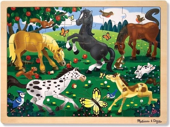 Melissa & Doug - Frolicking Horses - Legpuzzel - 48 PC