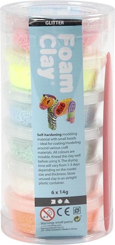 Creative Company Foam Clay set met 6 Kleuren met Glitter - klei
