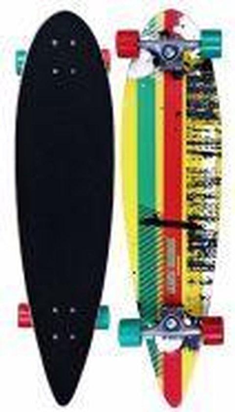 "Schreuder Sports Black Dragon Longboard 36"" Pintail - Tropical Funk - Geel/Groen/Fuchsia"