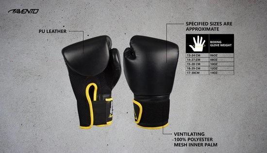 Schreuder Sports Avento Bokshandschoenen PU - 10 Oz - Zwart/Geel - 10