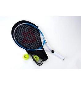 Angel Sports Angel Sports 25 inch Aluminium Tennisracket - Blauw - 2 Tennisballen - L1