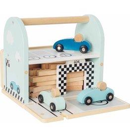 Houten racebaan in kist