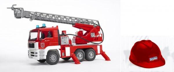 Bruder brandweerauto+rode helm