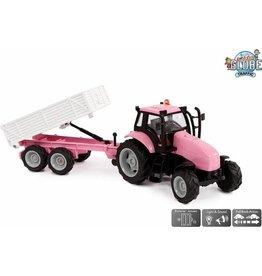 Kids Globe Kids globe tractor+aanh. roze