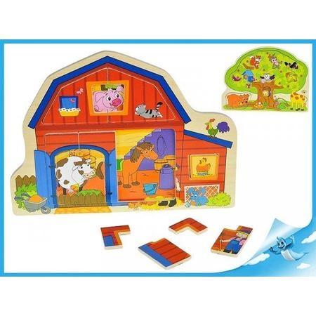 Inlegpuzzel hout huis/boom