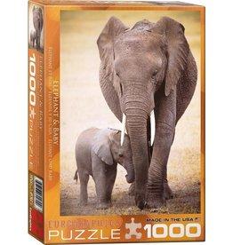 Eurograpics Puzzel 1000 olifant met baby
