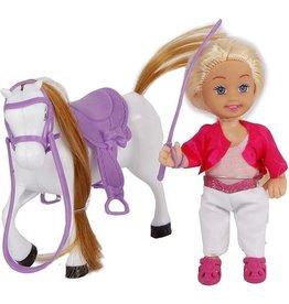 cute girl Pop met paard 14cm