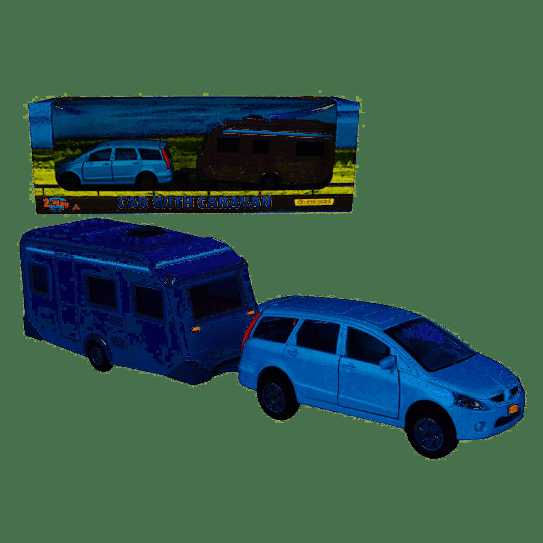 2-Play Die-cast Mitsubishi Auto met Caravan, 29cm