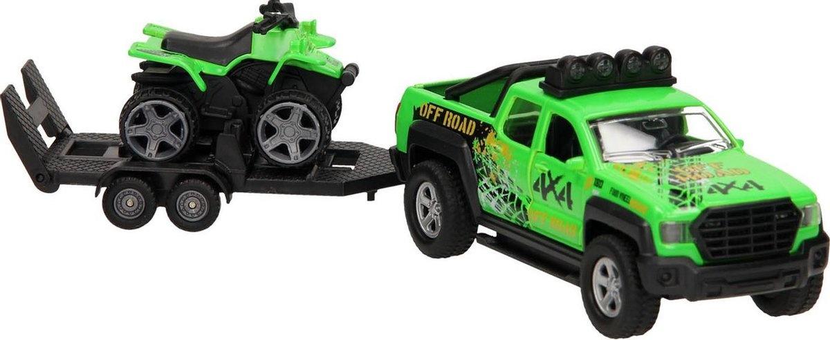 Kids Globe Kids Globe Auto pb terreinwagen met trailer en quad + licht/geluid