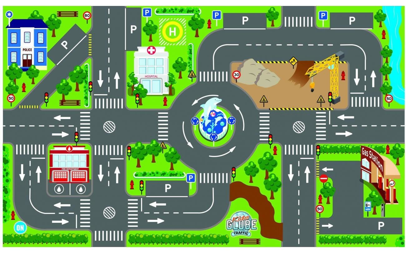 Kids Globe Kids Globe Verkeerskleed met verkeerslichten 100 x 75 cm