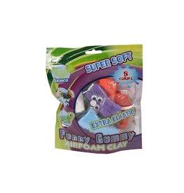 van Manen Funny gummy kneedgum  8 kleuren + 4 oogjes