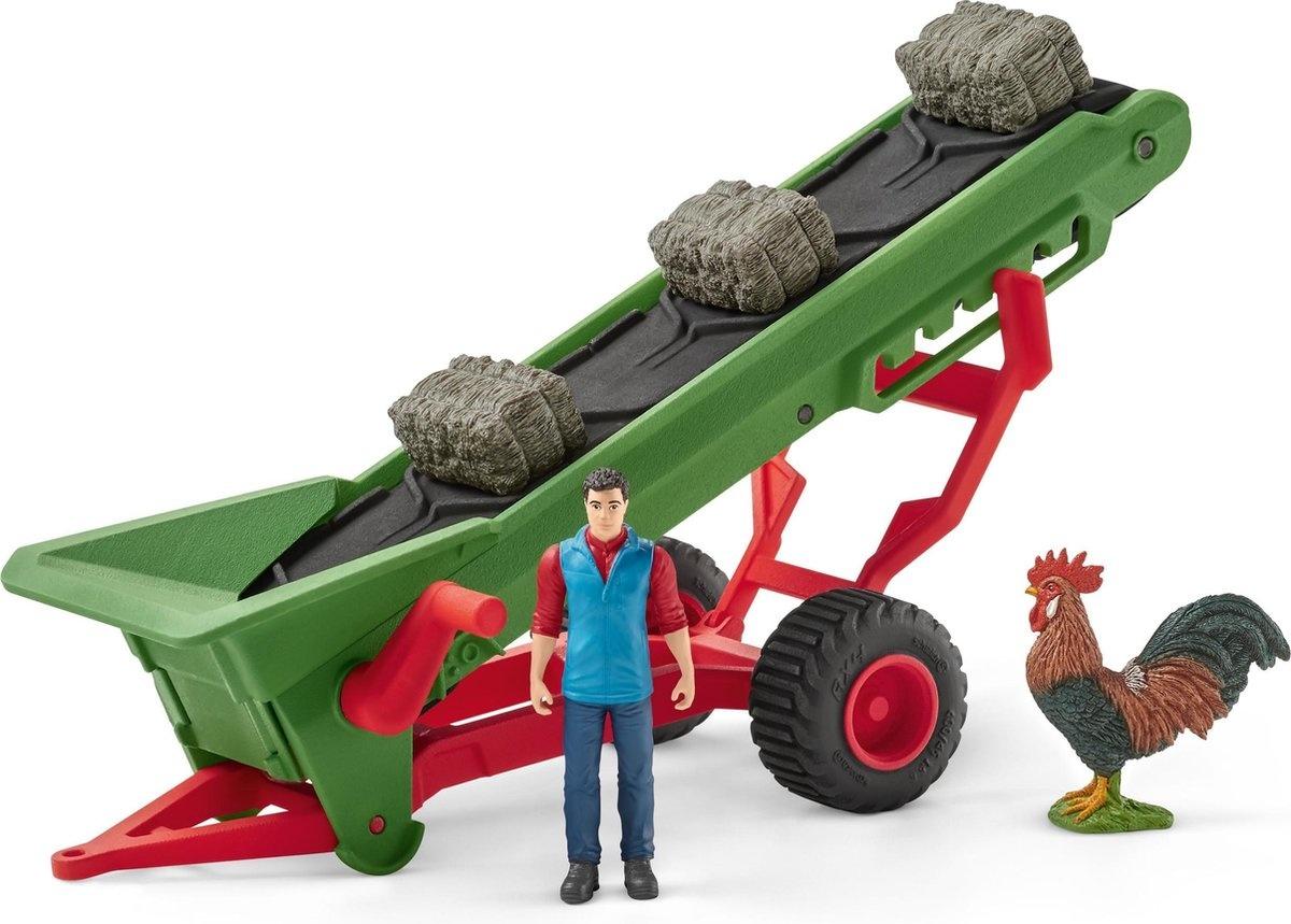 Schleich Hooi transportband met boer