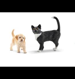 Schleich Goldenretriever pup&zwarte kat