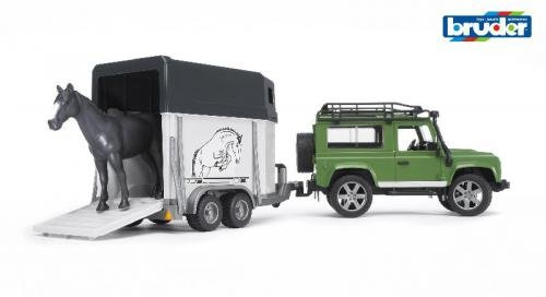 Bruder Land Rover Defender met paardentransport inclusief pa