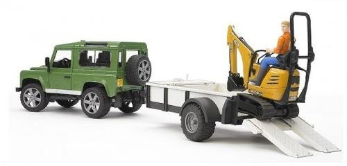 Bruder Bruder Land Rover Defender met JCB Minigraver