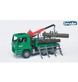 Bruder MAN TGA transportwagen met kraan en 3 boomstammen
