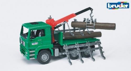 Bruder Bruder MAN TGA transportwagen met kraan en 3 boomstammen