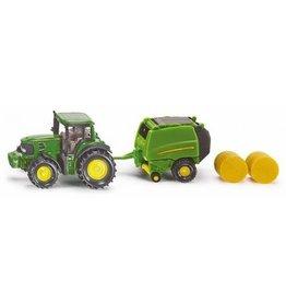 Siku blister serie 16 John Deere tractor met balenpers
