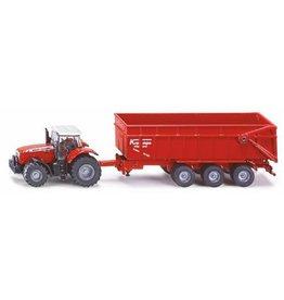 Siku Siku Farmer Massey Ferguson tractor met kiepaanhanger