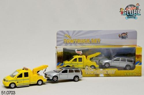 Kids Globe Die Cast Takelwagen met Vollvo V70 met L/G 2 ass.