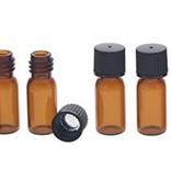 Bruinglas flesje 2 ml. met dop - 5 stuks