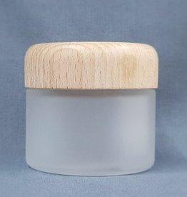 glazen pot frosted glas 50 ml. houten deksel