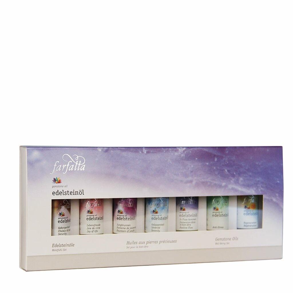 Farfalla Edelsteenolie wellness geschenkset 7 x 10 ml.