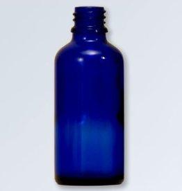 Blauwglas flesje 50 ml., DIN 18 (zonder dop)