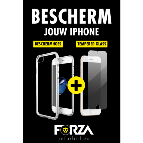 Forza Refurbished Forza iPhone 7 Plus/8 Plus Hoes transparant + tempered glass