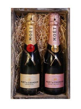 Moët & Chandon Geschenkset Kratje Brut & Rosé 2x37.5CL