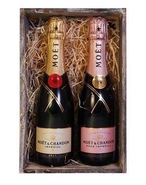 Moët & Chandon Geschenkset Kratje Impérial Brut & Rosé 2x37.5CL