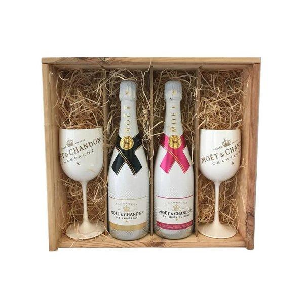 Moët & Chandon Ice Impérial & Ice Impérial Rosé Champagne Gift + 2 glazen