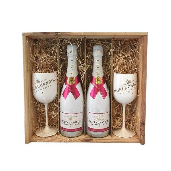 Moët & Chandon Ice Impérial Rosé in Geschenkkist 2x 75CL + 2 Glazen