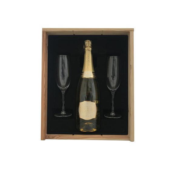 Luc Belaire 75CL  gold  Geschenkkist + 2 flutes