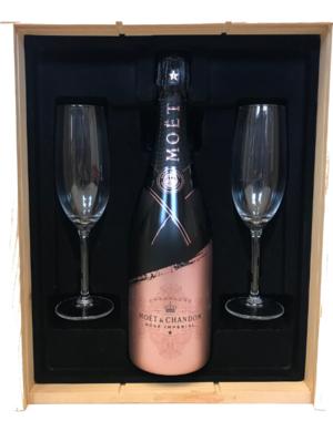 Moët & Chandon Rosé 75CL Valentine Edition in Kist + 2 Flutes