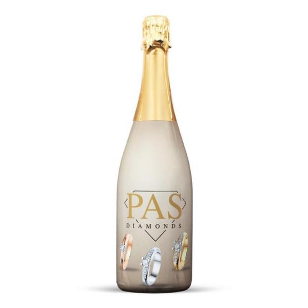 Bedrukte champagne