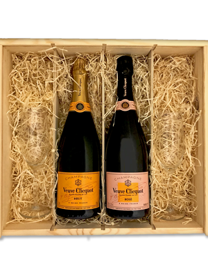 Veuve Clicquot  Veuve Clicquot Brut & Rosé in geschenkkist + 2 flutes
