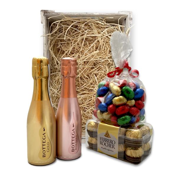 Bottega Paaspakket Gold & Rosé 20cl met Paaseitjes en Ferrero Rocher